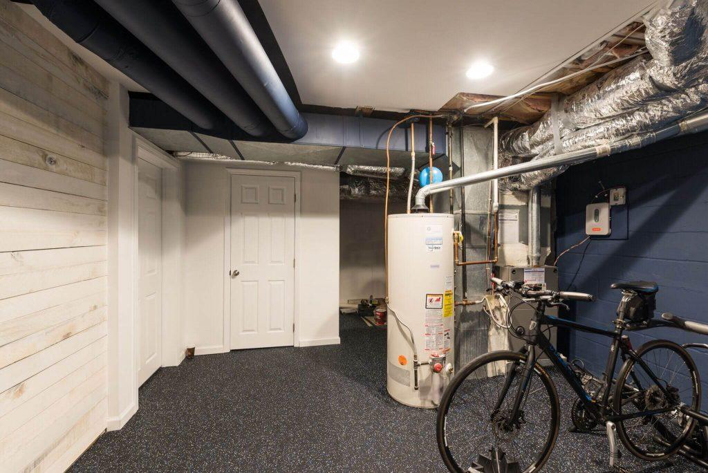 Gym Area of Dunwoody Basement leads to Bathroom