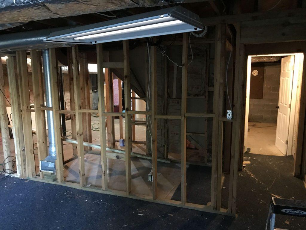 Before Dunwoody Basement Remodel Walls in place